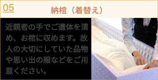 納棺(着替え)/近親者の手でご遺体を清め、お棺に収めます。故人の大切にしていた品物や思い出の服などをご用意ください。